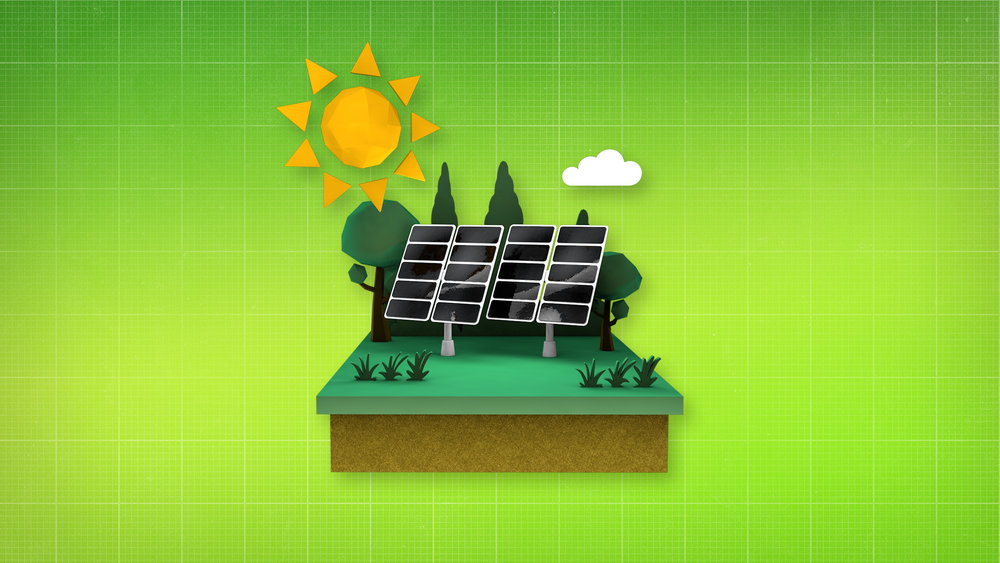 V/O: sunlight,  ACTION: A diorama of solar panels appear.