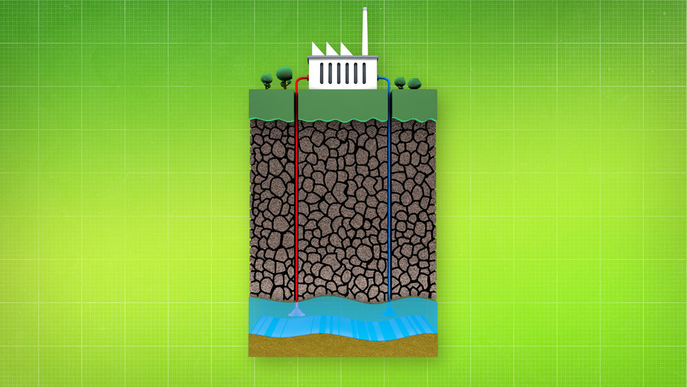 V/O: and geothermal is cleaner for the Earth  ACTION: A diorama showing geothermal energy appears.