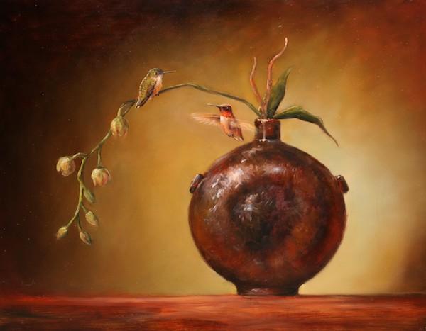 """Old Chinese Flash & Hummingbirds"", 20″x24″, Oil on board, by Lori McNee"