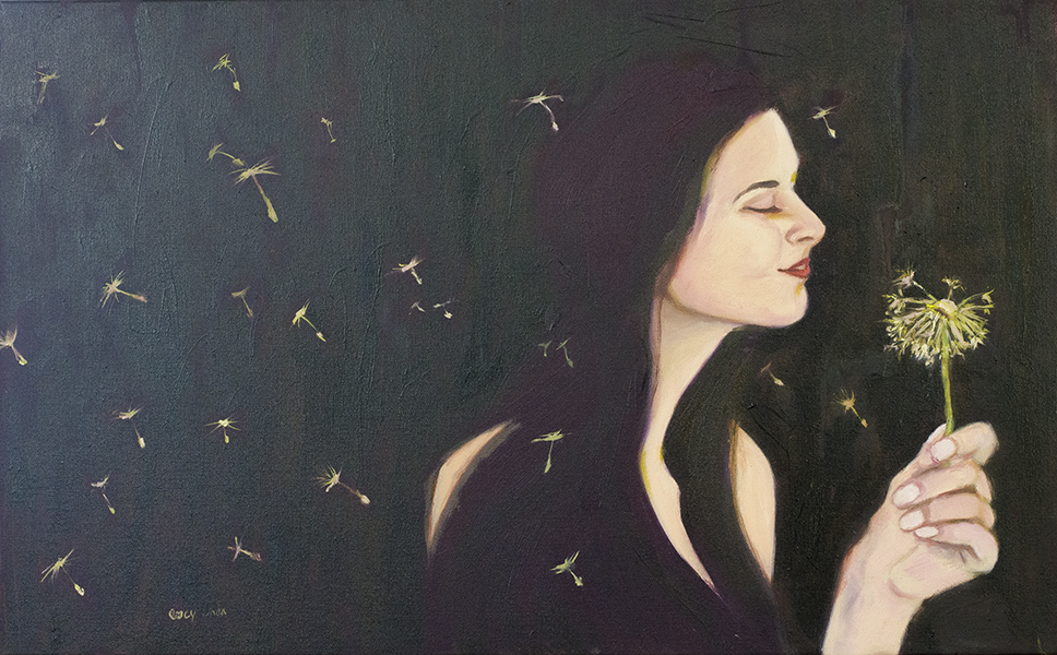LETTING GO, oil on stretched canvas, by Lucy Chen
