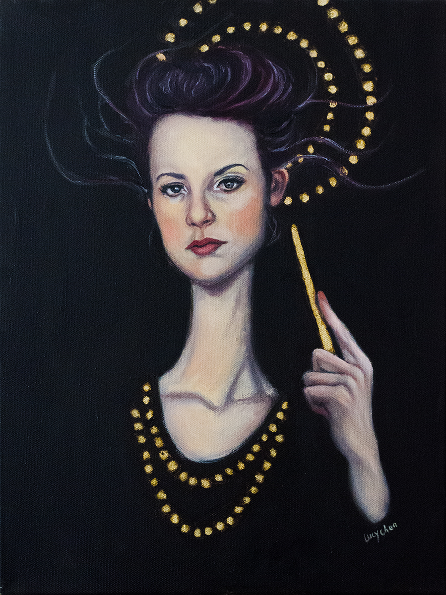 "ENCHANTRESS, 16""x12"", oil on stretched canvas, by Lucy Chen. Available  here ."