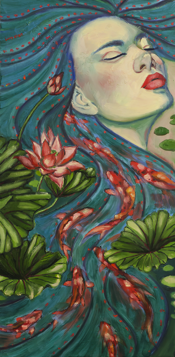 "DREAMING OF KOI  by Lucy Chen, 12""x24""x1"", oil and cold wax on stretched canvas.  Original SOLD.  Click here for Prints of various sizes ."