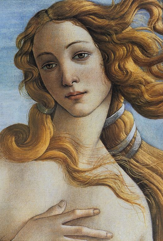 The Birth of Venus (c.1486), detail. Tempera on canvas. By Sandro Botticelli.