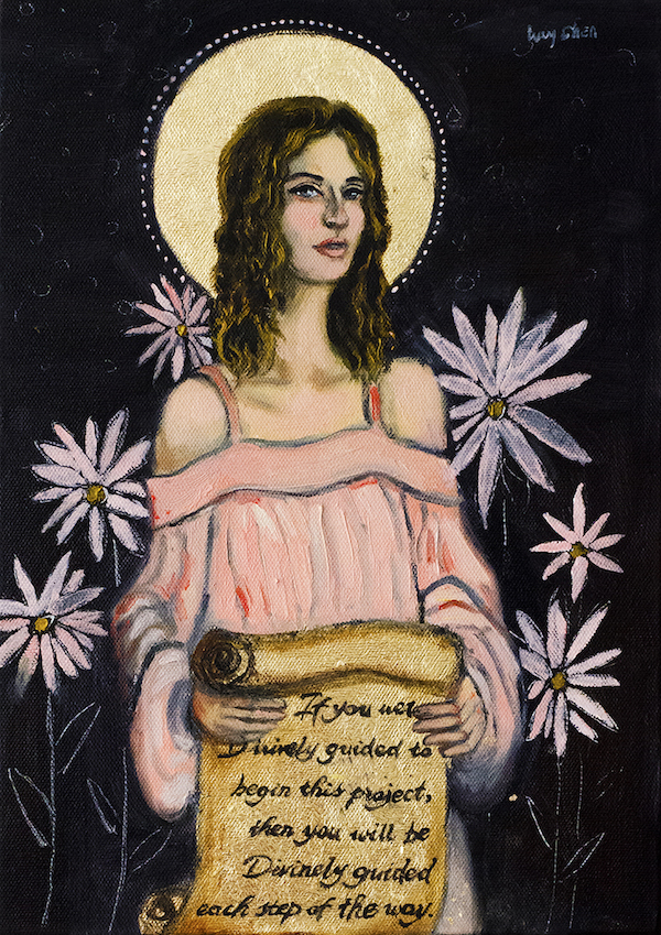 Angel Message I, by Lucy Chen, oil and gold leaf on stretched canvas.  Original  available   here .  Prints of various sizes  available here .