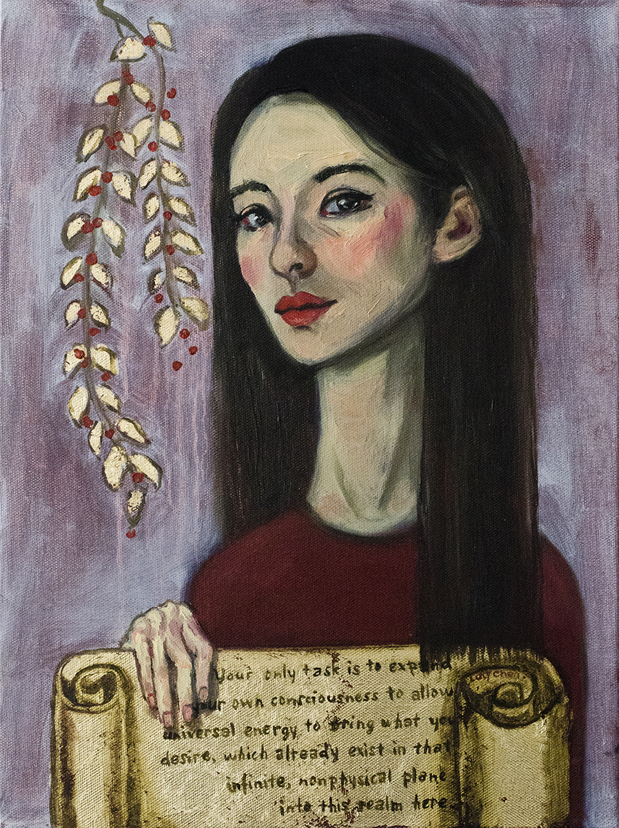 Angel Message II, by Lucy Chen, oil and gold leaf on stretched canvas.  Original  available here .  Prints of various sizes  available here .