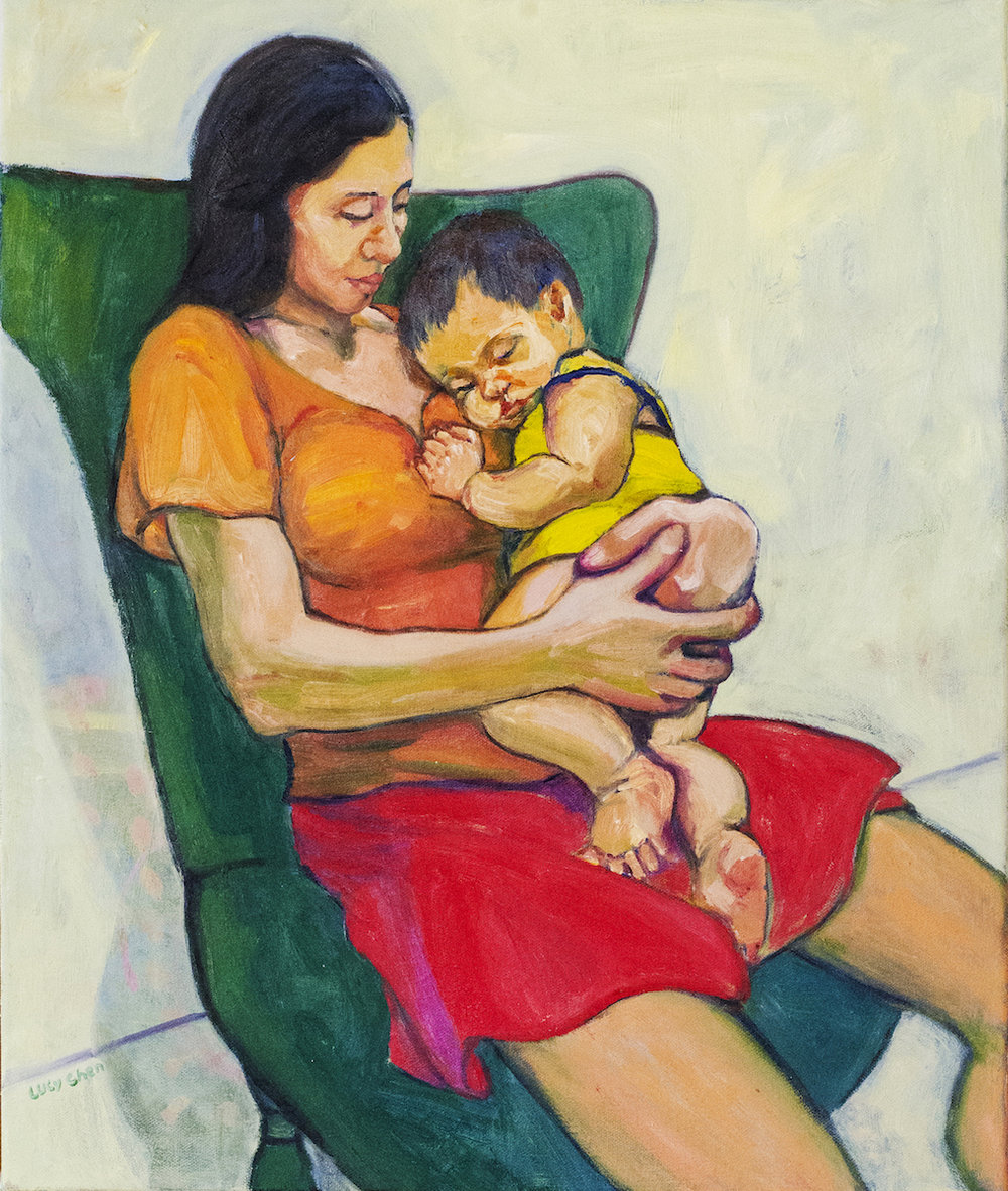 Mother and Child, oil on stretched canvas, by Lucy Chen.  Prints available in my store .