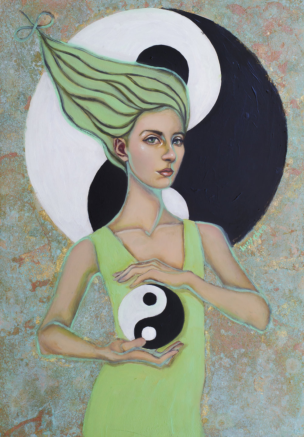 TEMPERANCE, oil and copper leaf on cradled birch wood panel, by Lucy Chen. Original Sold.