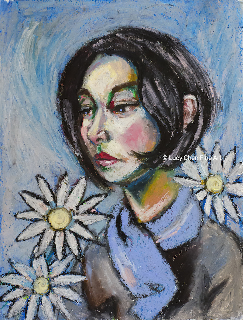 DON'T EAT MY DAISIES,  oil pastel on paper, by Lucy Chen.