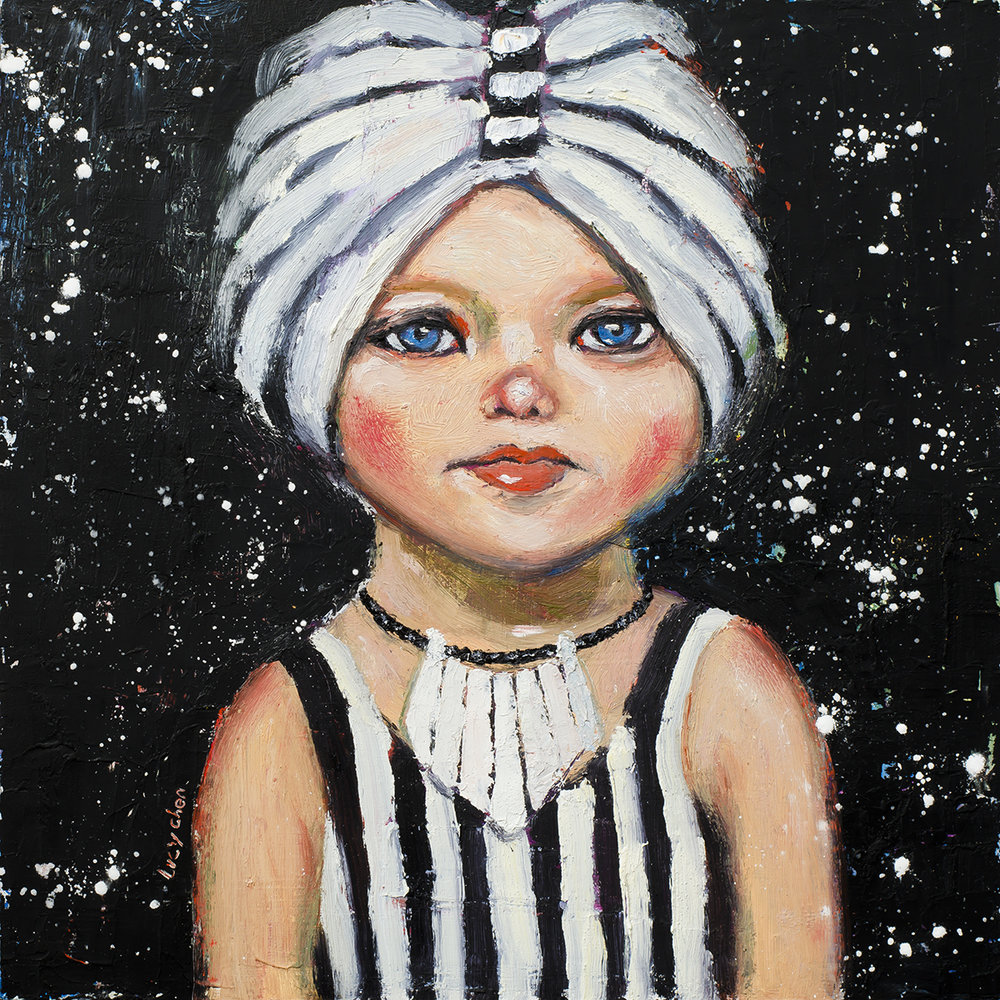 "AMY, 12""x12"", oil and cold wax on cradled wood panel, ready to hang, by Lucy Chen.  Original is available in my store ."