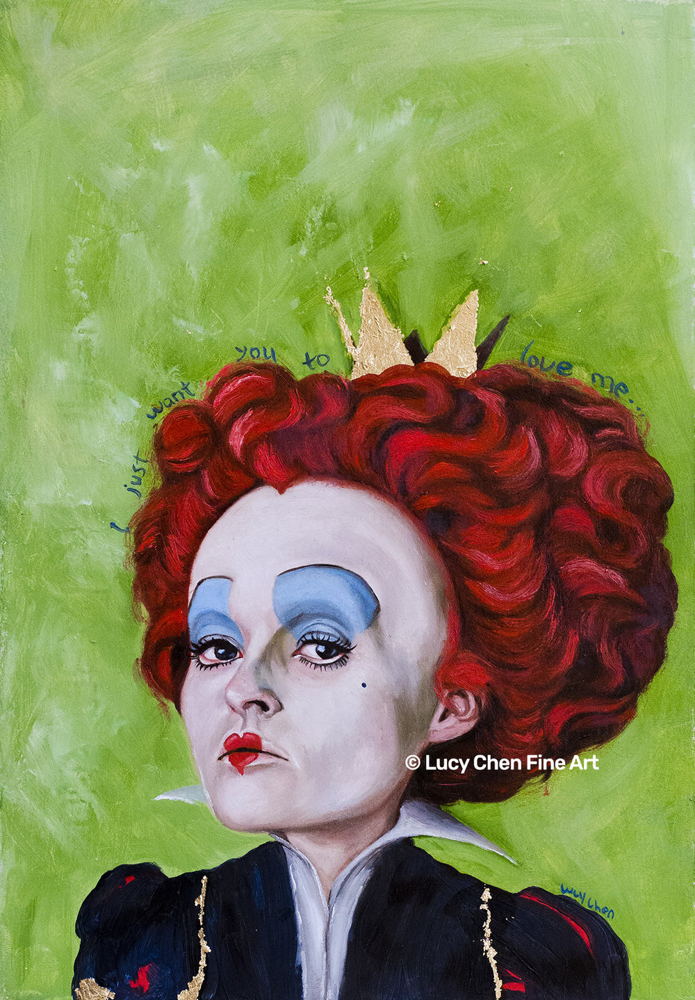 "THE RED QUEEN, by Lucy Chen, 7.5""x11"", oil and gold leaf on primed paper. SOLD."