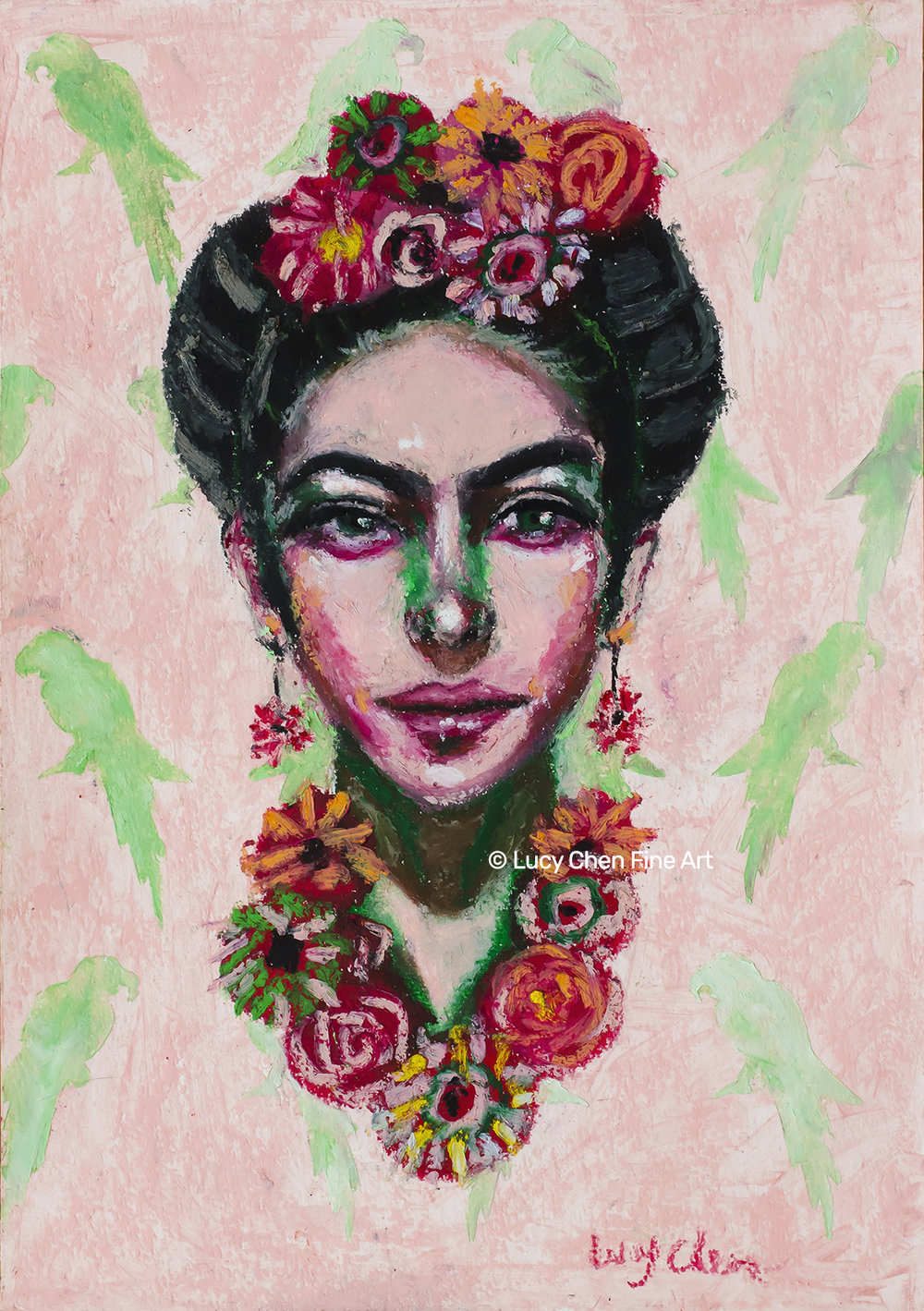 FRIDA, by Lucy Chen, oil pastel on paper. SOLD.