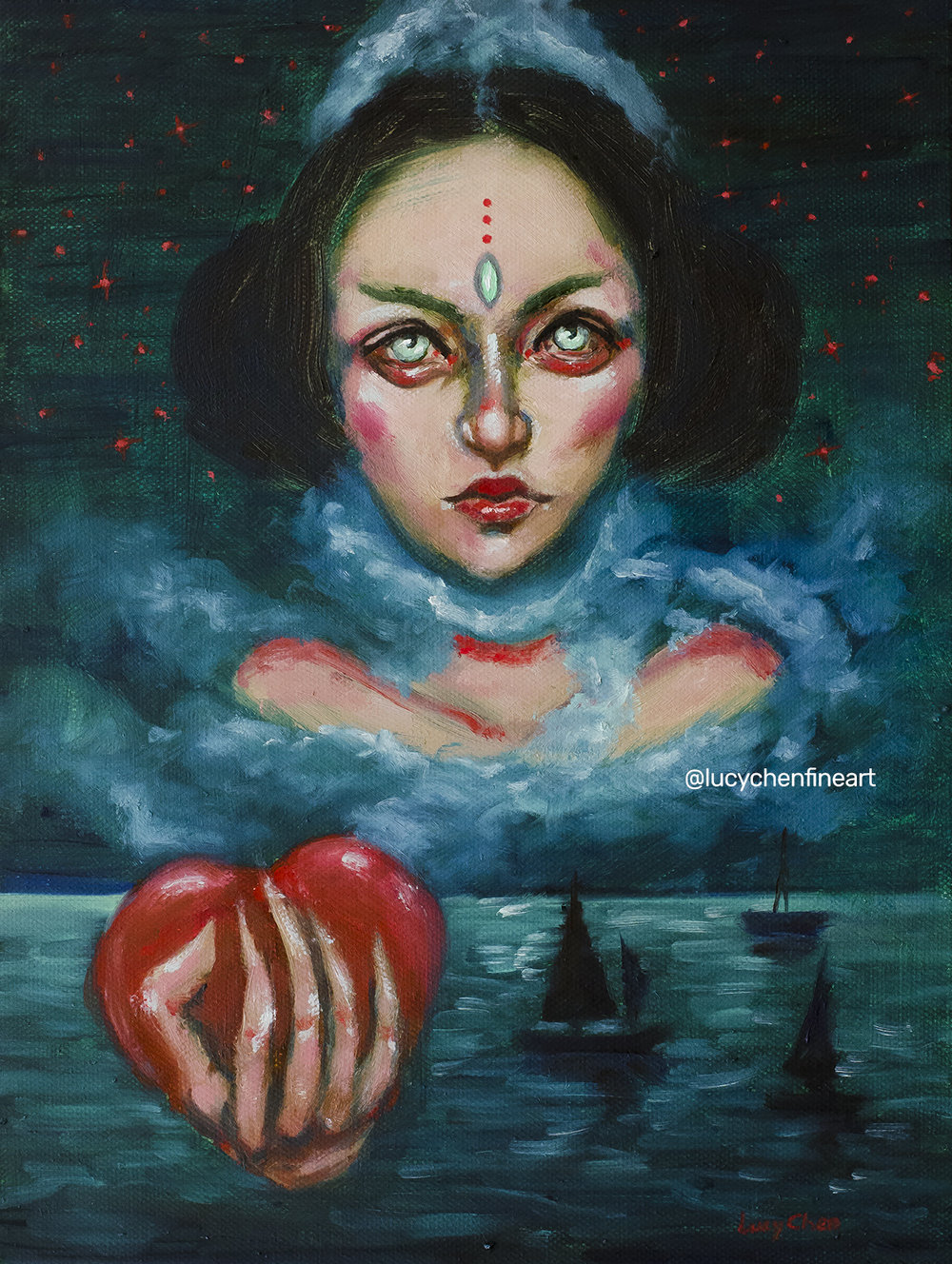 SNOW WHITE, oil on stretched canvas, by Lucy Chen. Original SOLD.  Prints available here .