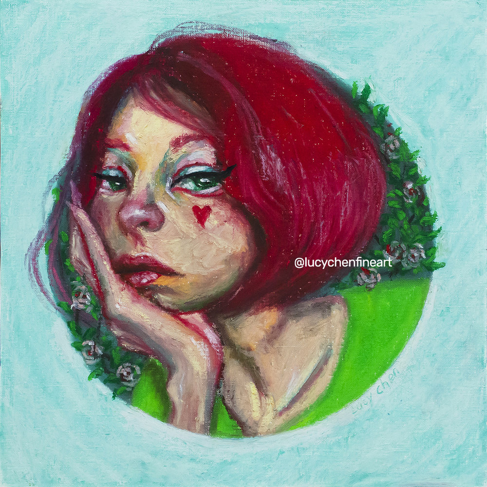 """LITTLE SKEPTIC, by Lucy Chen, 10""""x10"""", oil pastel on canvas paper."""