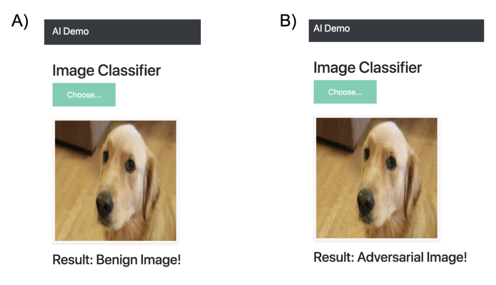 Figure 8. Example use of heroku application for classifying a A) benign image and B) FGSM adversarial image.