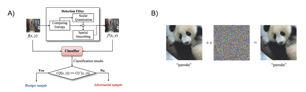 "Figure 3. Examples of adversarial detection and adversarial defense methods. A) Detection algorithm from  ""Detecting Adversarial Image Examples in Deep Networks with Adaptive Noise Reduction"" . An input image returns a classification of ""adversarial"" or ""benign"". B) Defense algorithm - an input image returns its true class regardless of whether the image has adversarial perturbations or not."