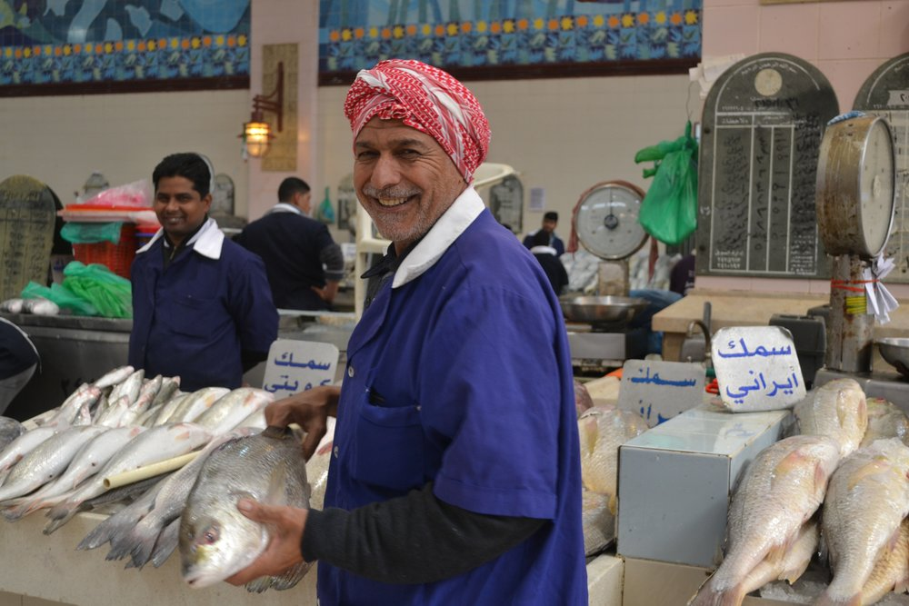 Kuwaiti fish seller in the Kuwait Fish Market