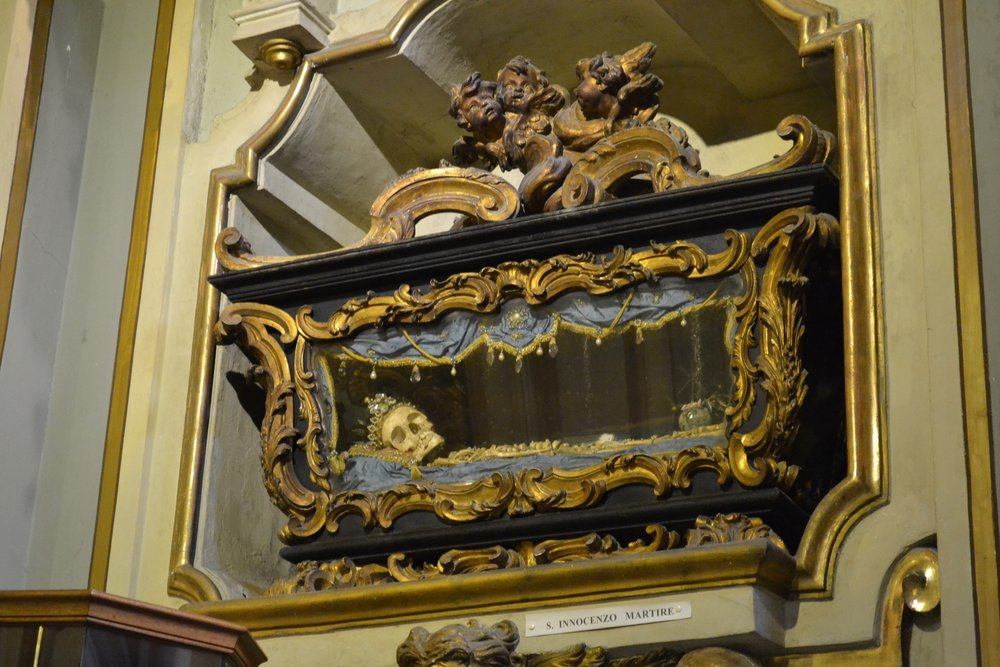 """The relics of a saint (the sign below says """"St. Innocent Martyr"""")"""