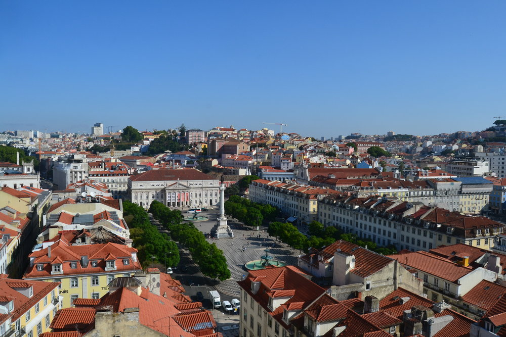 View of Rossio Square in Lisbon from the Santa Justa Elevator