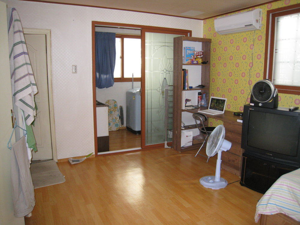 My apartment in South Korea. The picture makes it look bigger than it actually was.