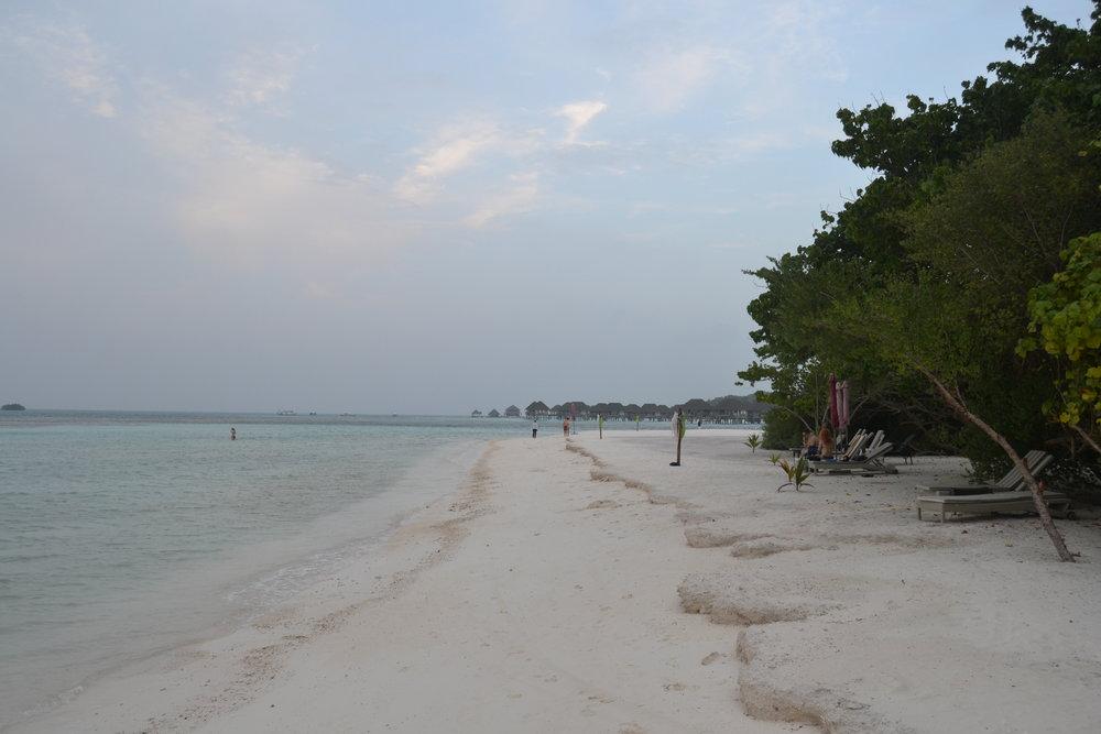 A resort beach on Huraa in the Maldives