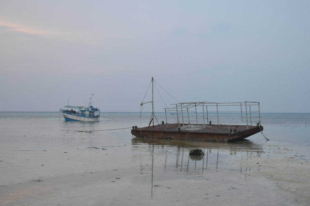Wrecked ships at low tide on Huraa