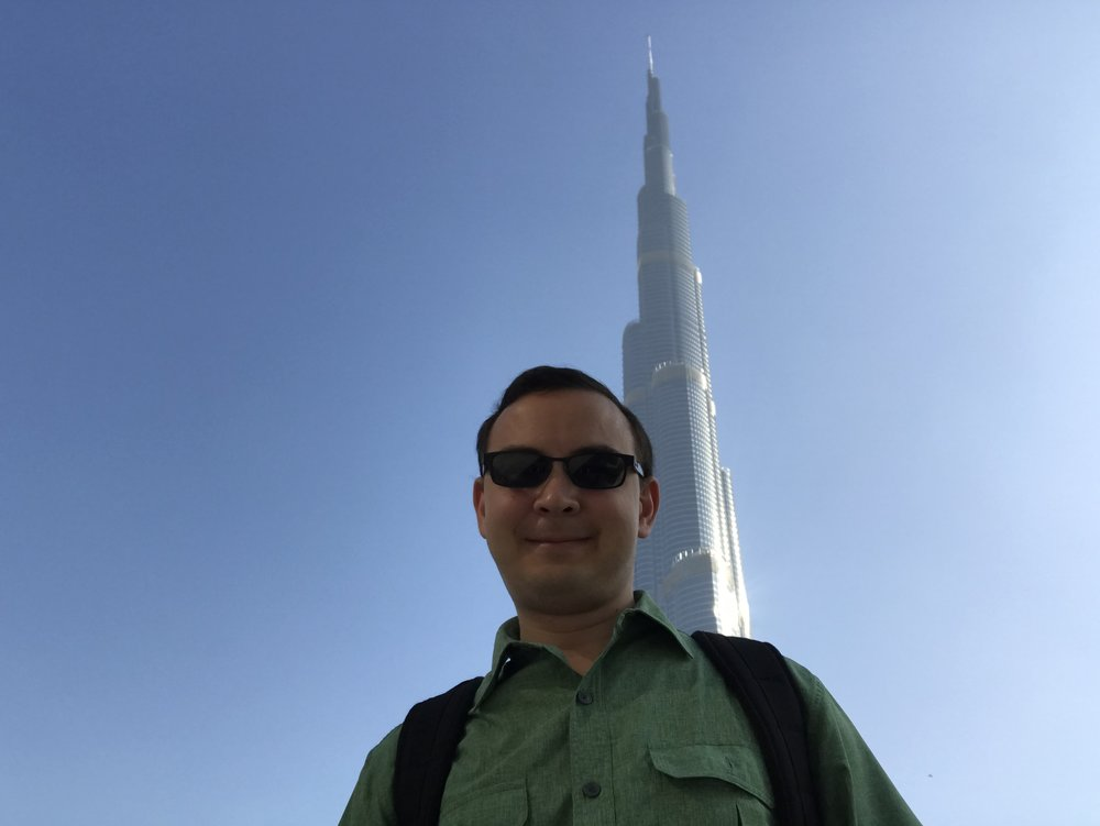 A selfie shot in front of the famed Burj Khalifa in Dubai