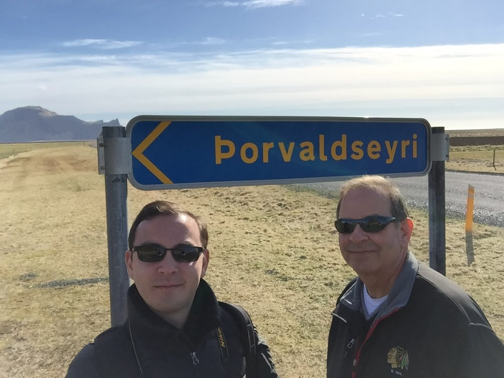 My father and I at Thorvaldseyri in Iceland