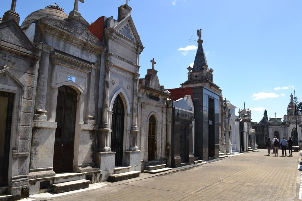 A row of mausoleums in La Recoleta