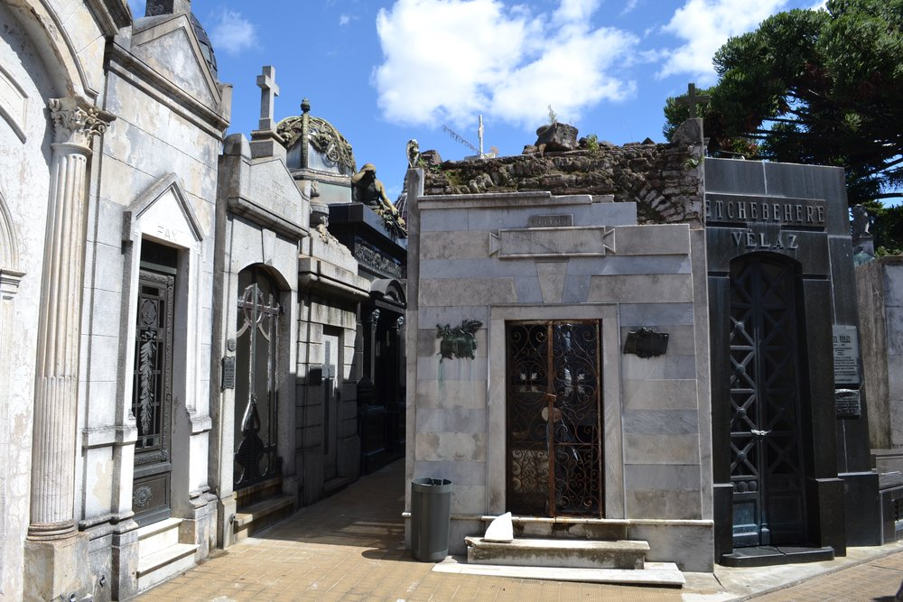 Tightly-packed mausoleums in La Recoleta