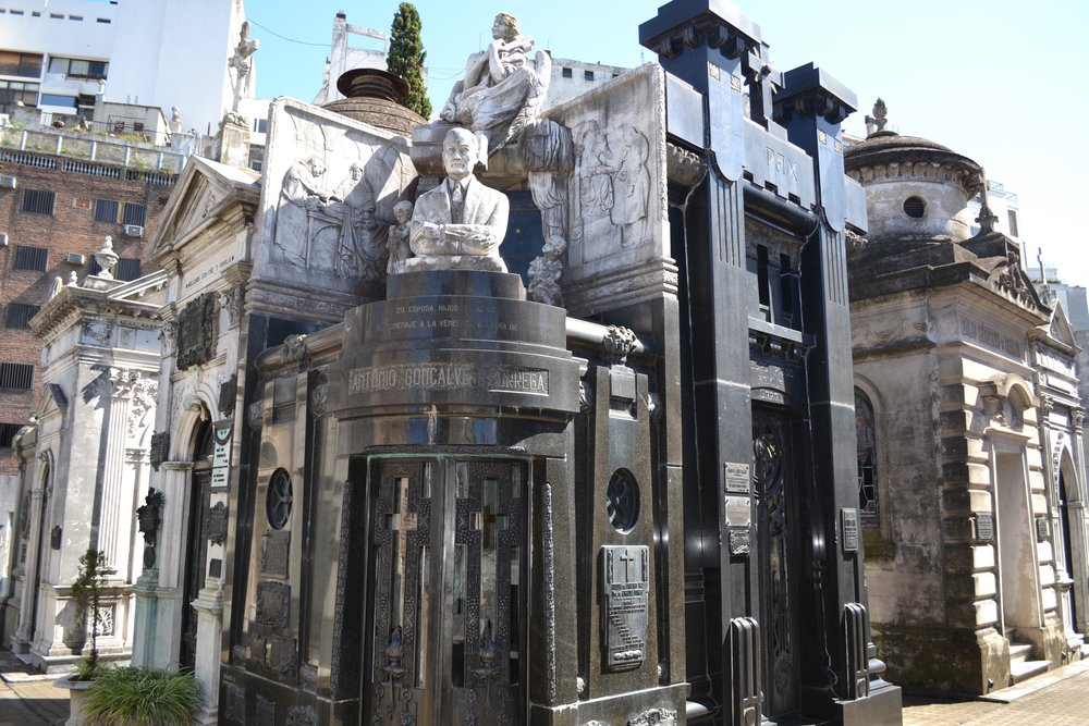 One of the many unique mausoleum styles in La Recoleta Cemetery
