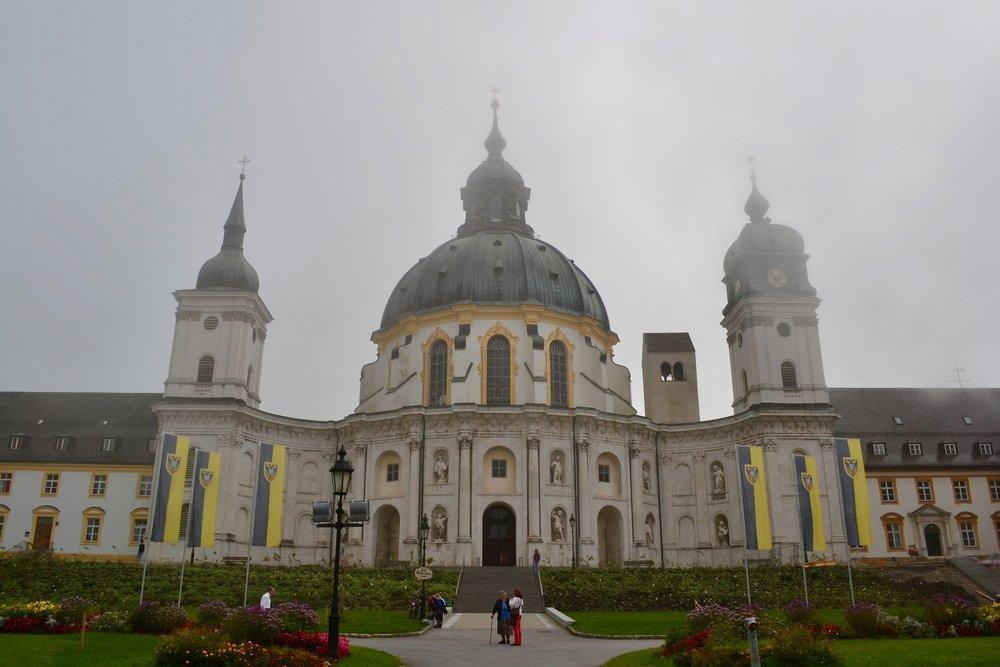 Ettal Abbey in a morning mist