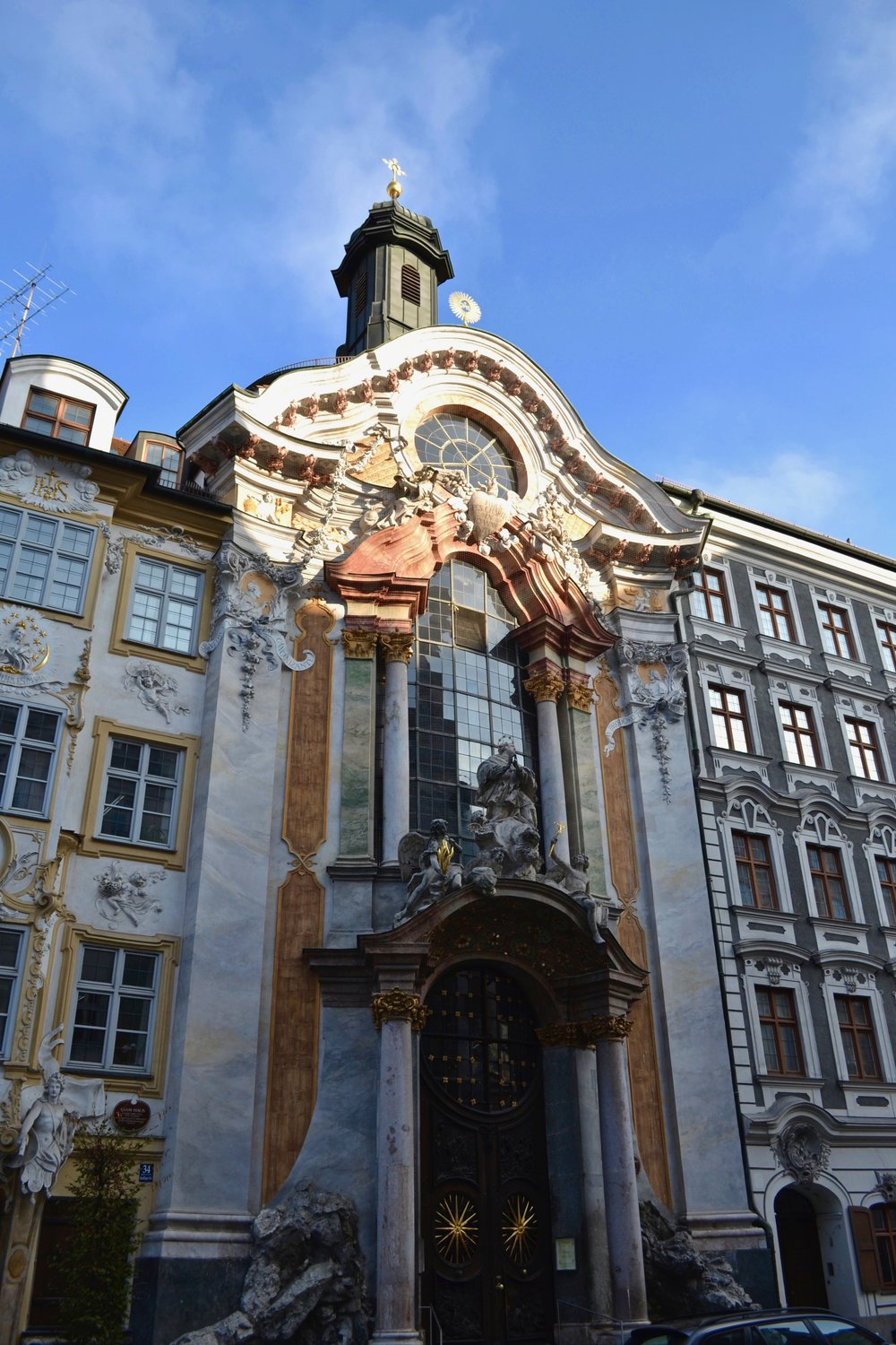 The exterior of the Asamkirche in Munich