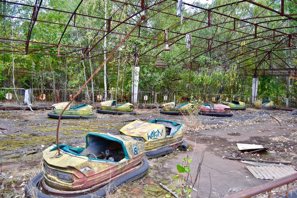 Abandoned bumper cars in Pripyat