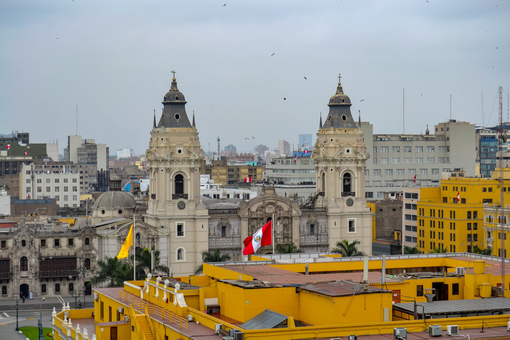 View of the Cathedral Basilica of Lima