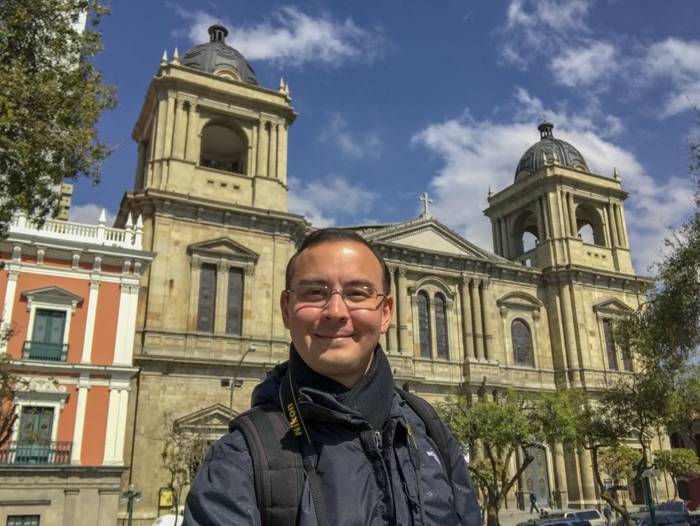 The author in front of La Paz Cathedral in Bolivia