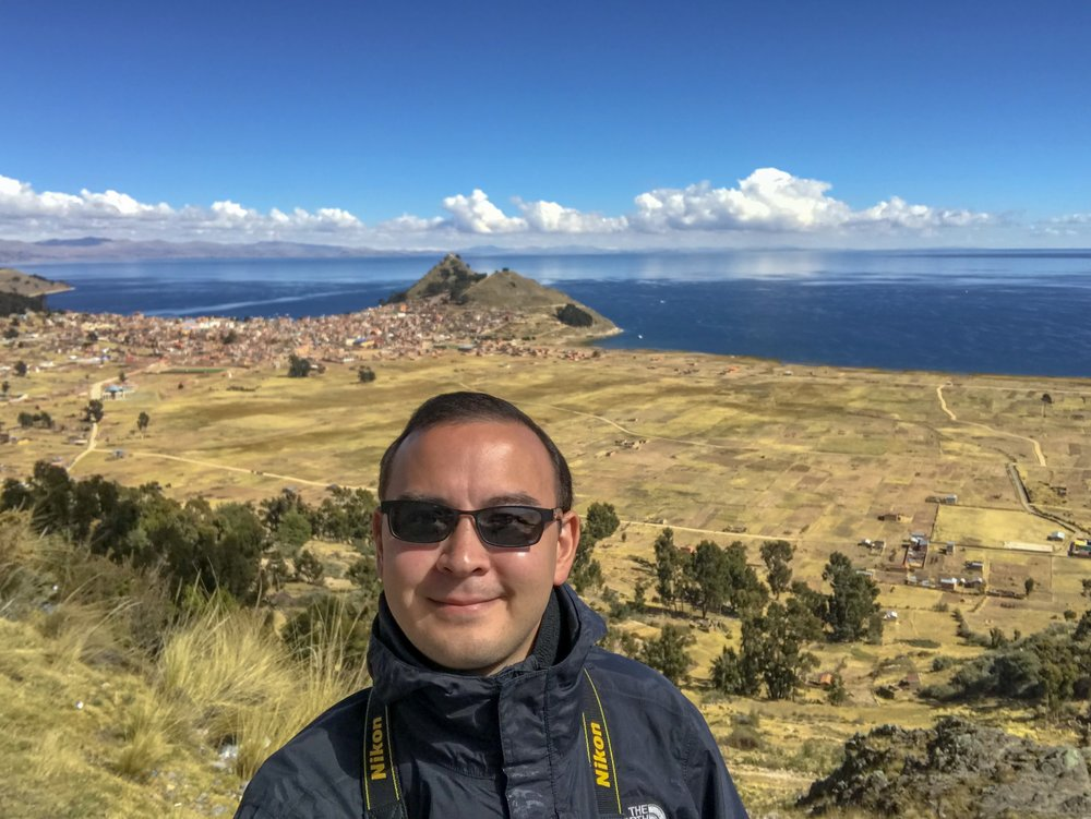 The author with Copacabana and Lake Titicaca