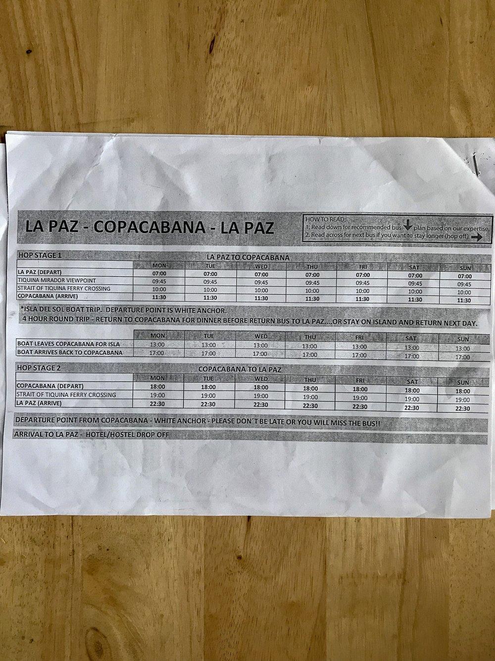 La Paz - Copacabana Bus Schedule