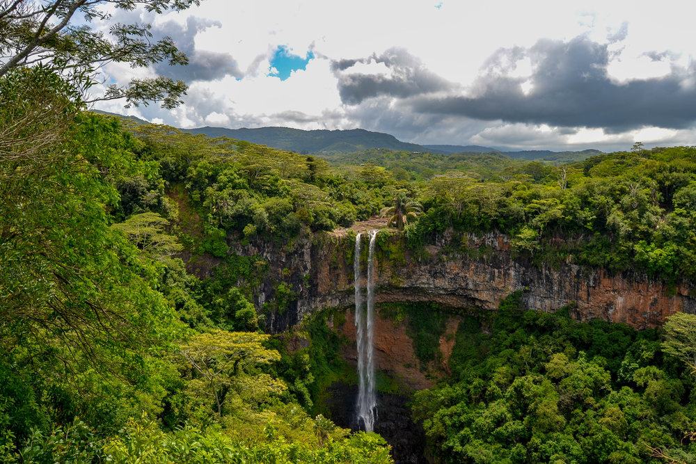 A full view of Chamarel Waterfall