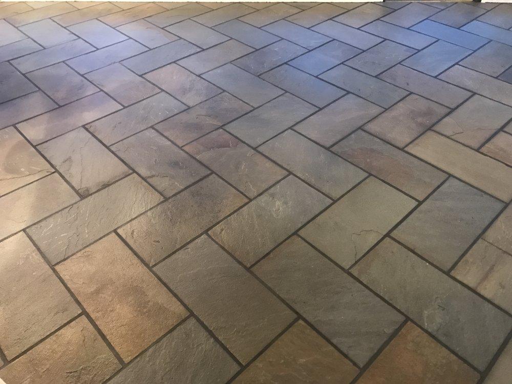 Here is the beautiful herringbone floor!