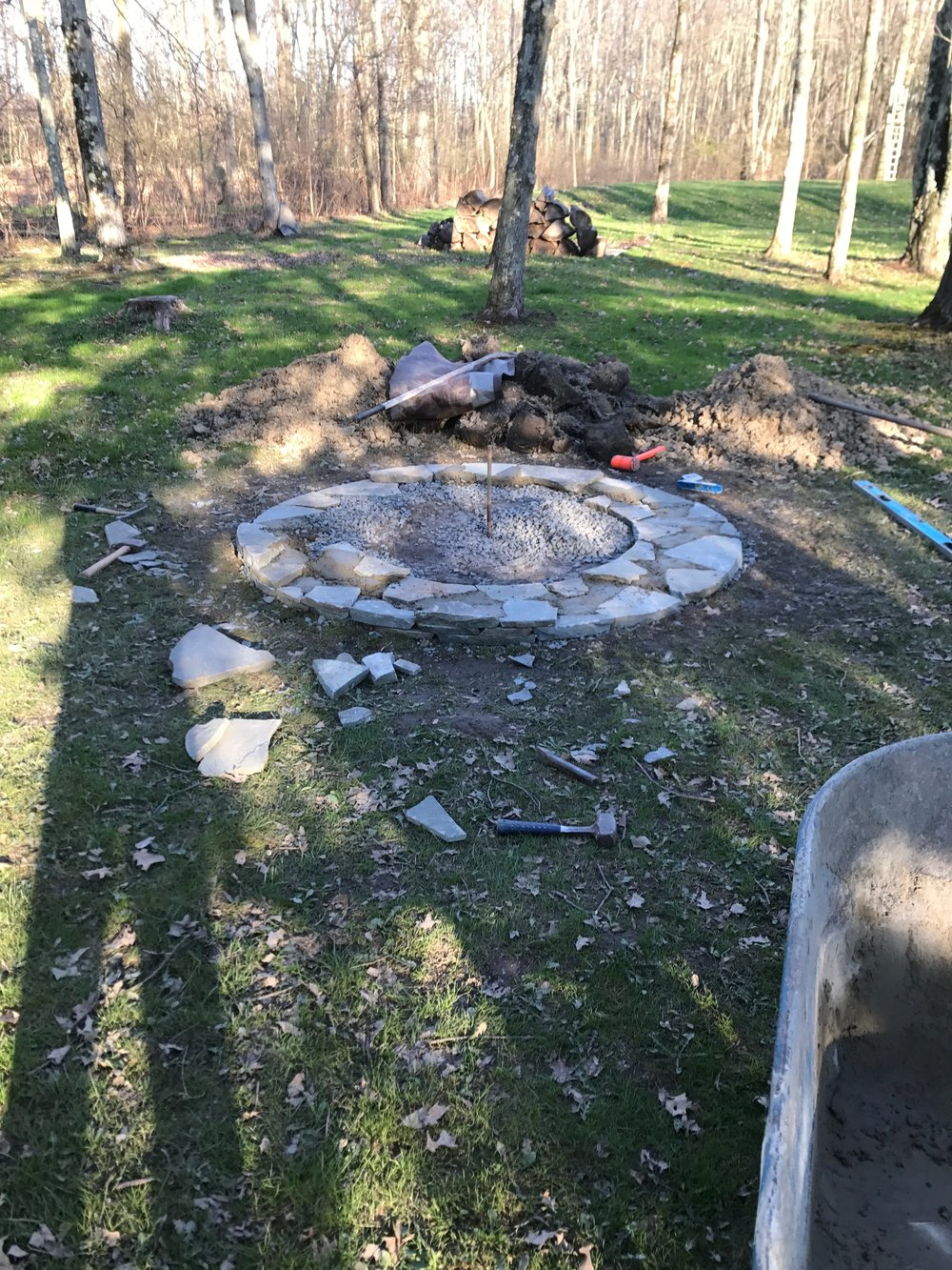 Mike got started on the fire pit this spring, and worked on it in the evenings and on the weekends.
