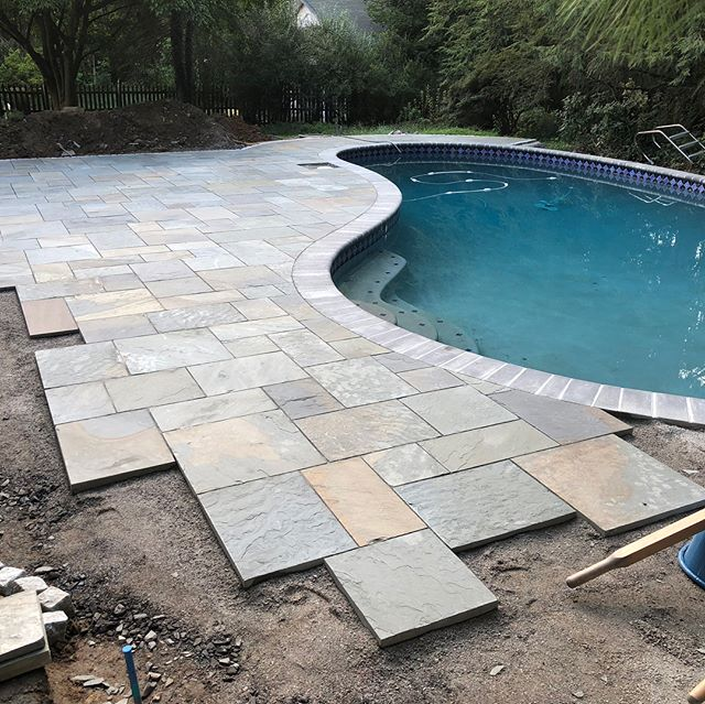 I see bluestone in my dreams (and nightmares). So. Many. Stones. Pool deck coming along nicely!!!
