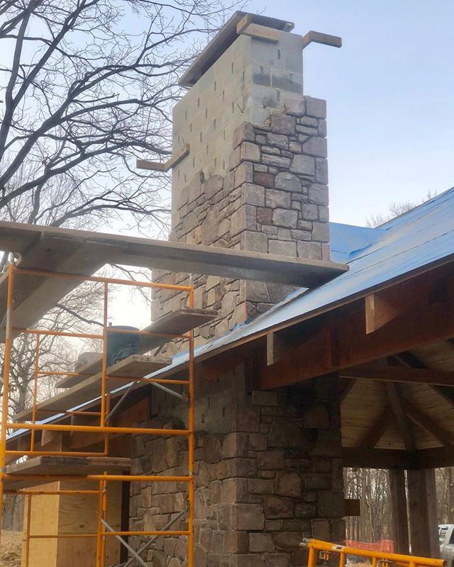 Making good progress on the chimney for this fireplace in an outdoor pool pavilion. Sure wish I could light up the fire for some warmth!