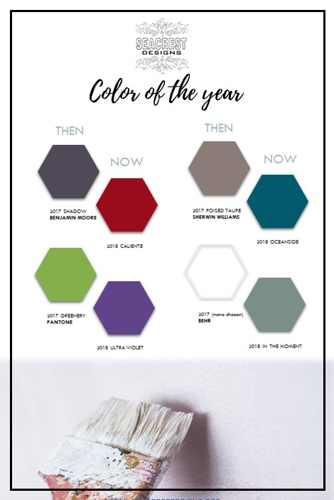 My go-to sources for paint or color resource: 1. Benjamin Moore 2. Sherwin Williams 3. Behr and for color info 4. Pantone. Here is a comparison of 2017COY and 2018 COY.