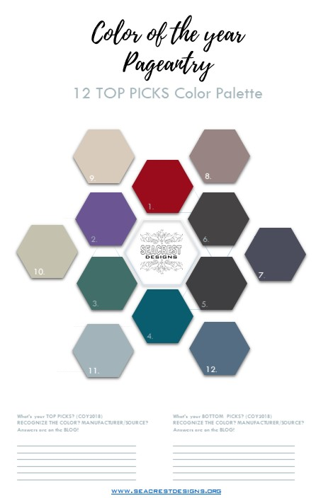 12 Top Picks for Color of the Year 2018.......And the winner is?