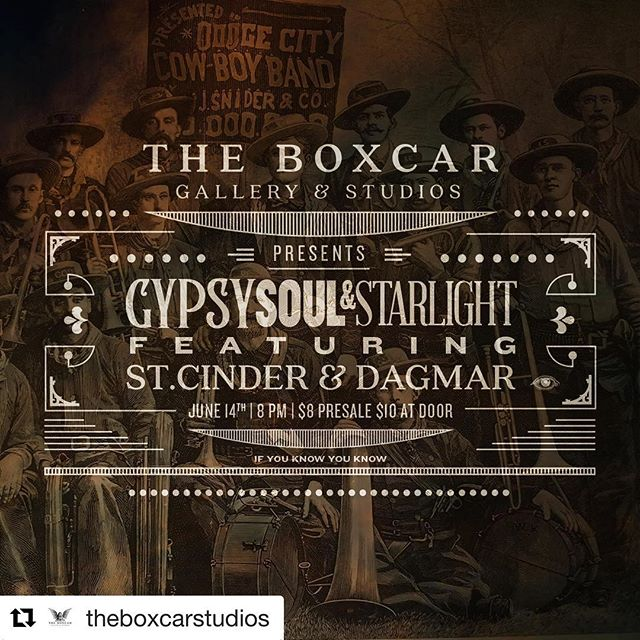 #UtahArtScene @theboxcarstudios ・・・ THE BOXCAR PRESENTS: Gypsy, Soul & Starlight. Featuring captivating performances by @st.cinder and @dagmar.theband alongside an evening of amazement and glimmering wonderments. Tickets are on sale now, grab 'em up (link in bio).