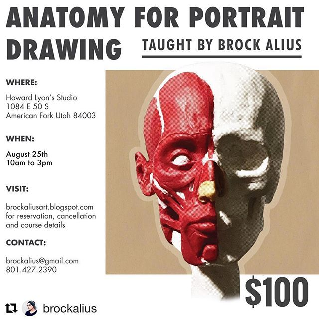 #utahartscene @brockalius ・・・ Due to the variety of interest and scheduling conflicts, I have condensed this workshop into one day. It will be held @howardlyonart studio. We are foregoing the sculpting aspect, and will instead have an anatomical lecture, including handouts, followed by a 3 hour model session. I will be constantly circling through the session, so expect a very personal level of instruction. If you are looking to sharpen your drawing skills and also understand how anatomy can play a huge role in that, then this is for you! If you are a student, please inquire about reduced tuition. Click the link in my bio for more details and to sign up! Payment through Venmo, if you need additional options please ask.  #utah #utahphotographer #utahgram #utahisrad #utahisawesome #utahartist #utahart #utahartclasses