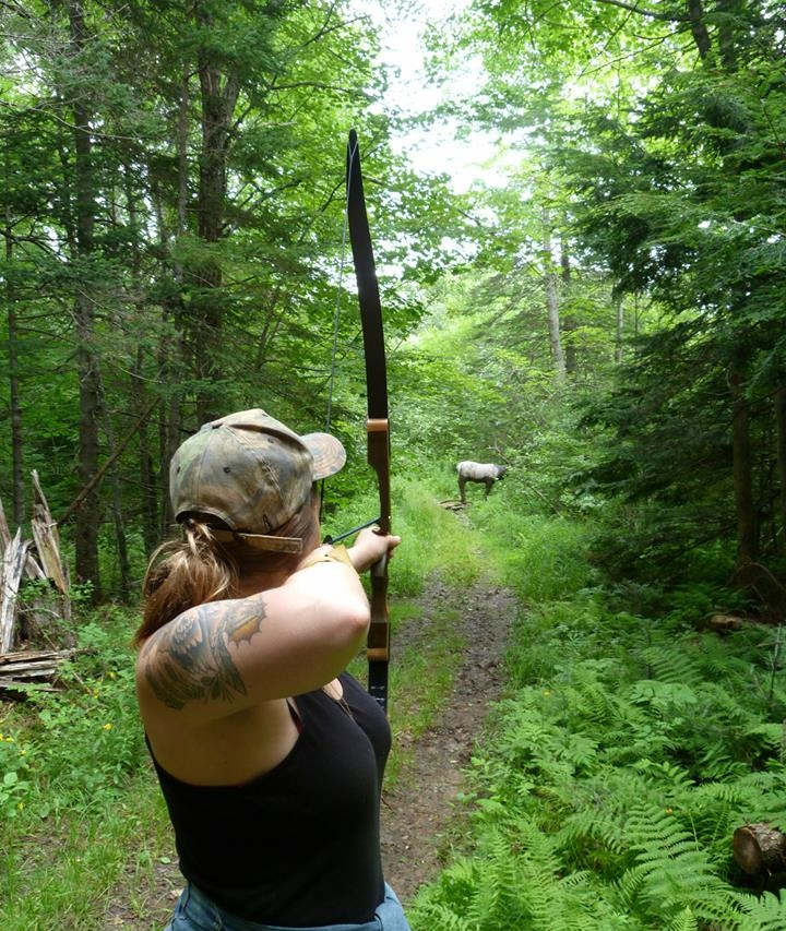 Jay at a 3D Shoot with a 35# recurve bow.