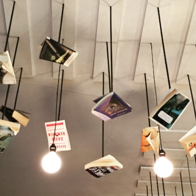 Book art at McNally Jackson in SoHo, NYC