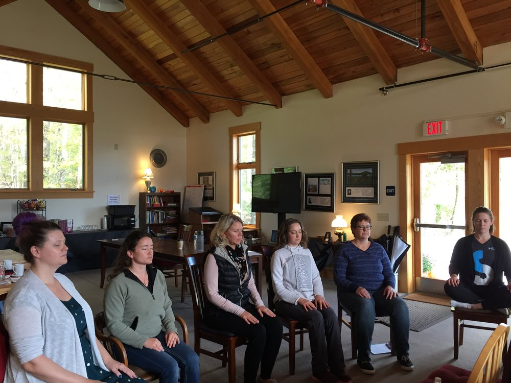 Writers meditating at my 2018 autumn retreat