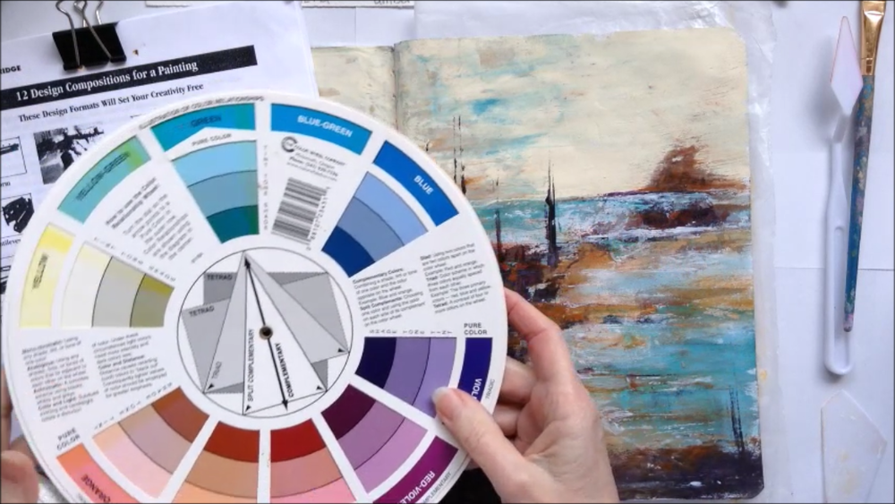 Using color-wheel and composition to create a balanced painting.